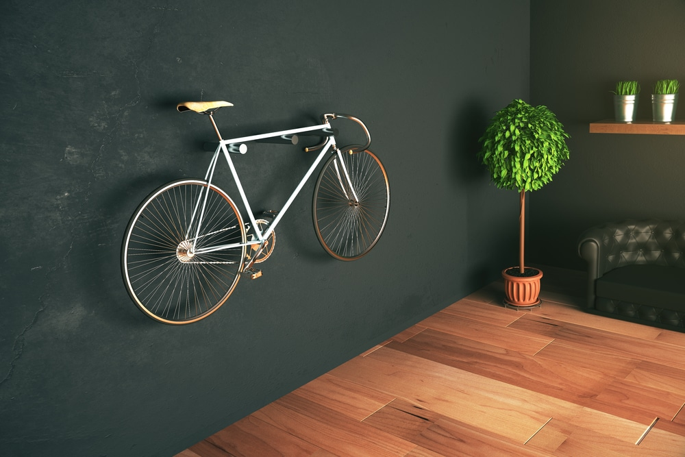 Bike hanging on wall